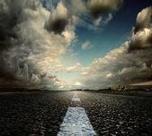 Most asphalt road. Shallow depth of field — Stock Photo
