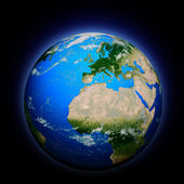3d generated blue earth, africa — Stock Photo