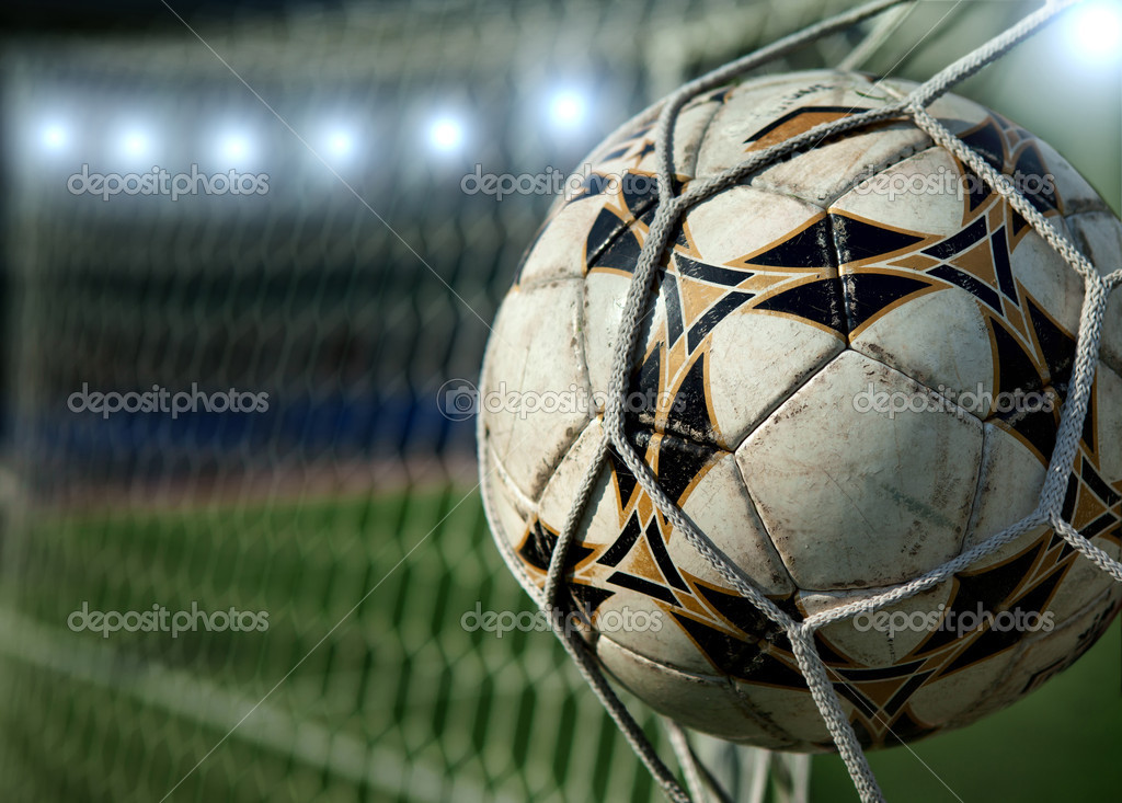 Football. The ball flies into the net gate — Stock Photo #9246350