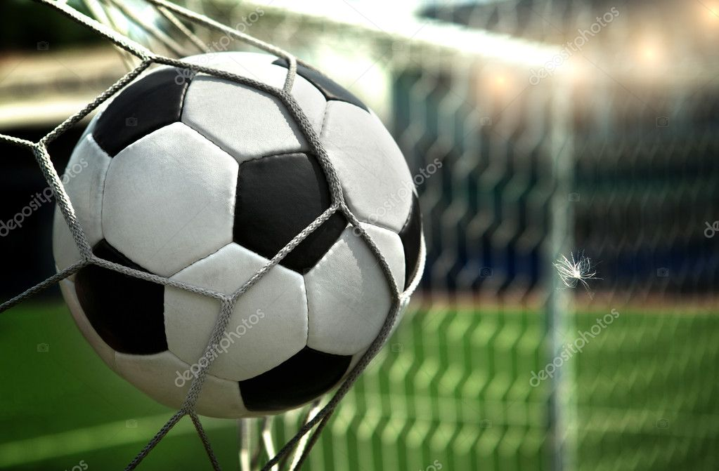 Football. The ball flies into the net gate — Foto Stock #9246448