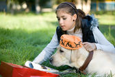 Dog and the girl — Stock Photo