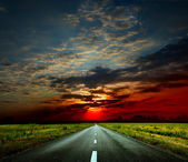 The road at sunset — Stock Photo