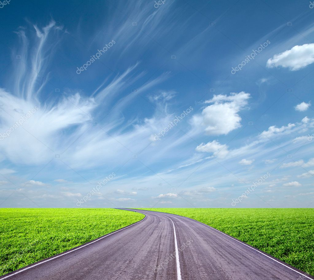 Asphalt road and blue sky — Stock Photo #9811663