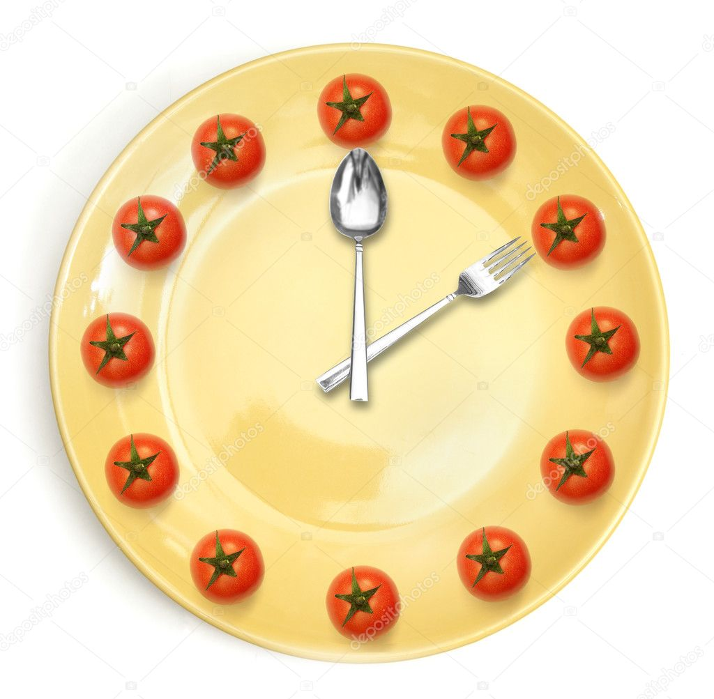 Twelve cherry tomatoes with a yellow plate isolated on white — Stock Photo #9819898