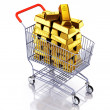 Gold bars in shopping cart — Foto Stock