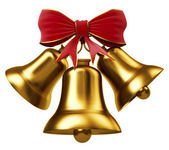 Golden bells with red bow — Stock Photo