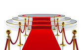 Round stage with red carpet — Stock Photo