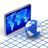 Weltglobus und digitalen welt karte konzept — Stockfoto