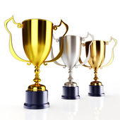 Gold silver and bronze trophy's — Stock Photo