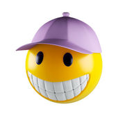 Smiley face with baseball cap — Stock Photo