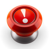 Red button with exclamation mark — Stock Photo