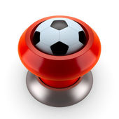 Red button in soccer style — Stock Photo