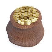 Full påse med gyllene mynt — Stockfoto