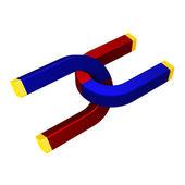 Přitažlivost dvojité magnety — Stock fotografie