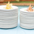 Stack of white plates — Stock Photo