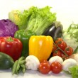Bright fresh vegetables on white background — Stock Photo