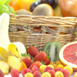 Fruits and berries in the basket — Stock Photo