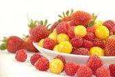Raspberries, gooseberries and strawberries on the white plate — Stock Photo