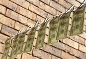 One hundred dollar bills is hanging on rope — Stock Photo