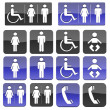Toilet Bathroom  Handicap Public Sign - Stock Photo