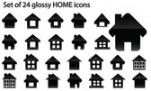 Set of 24 glossy home icons — Stock Vector