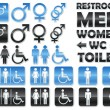 Vector de stock : Set of glossy signs for restrooms