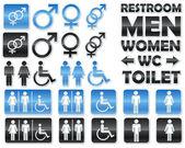 Ensemble de signes brillants pour toilettes — Vecteur