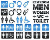 Set of glossy signs for restrooms — Stockvector