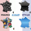France map set — Stock Vector