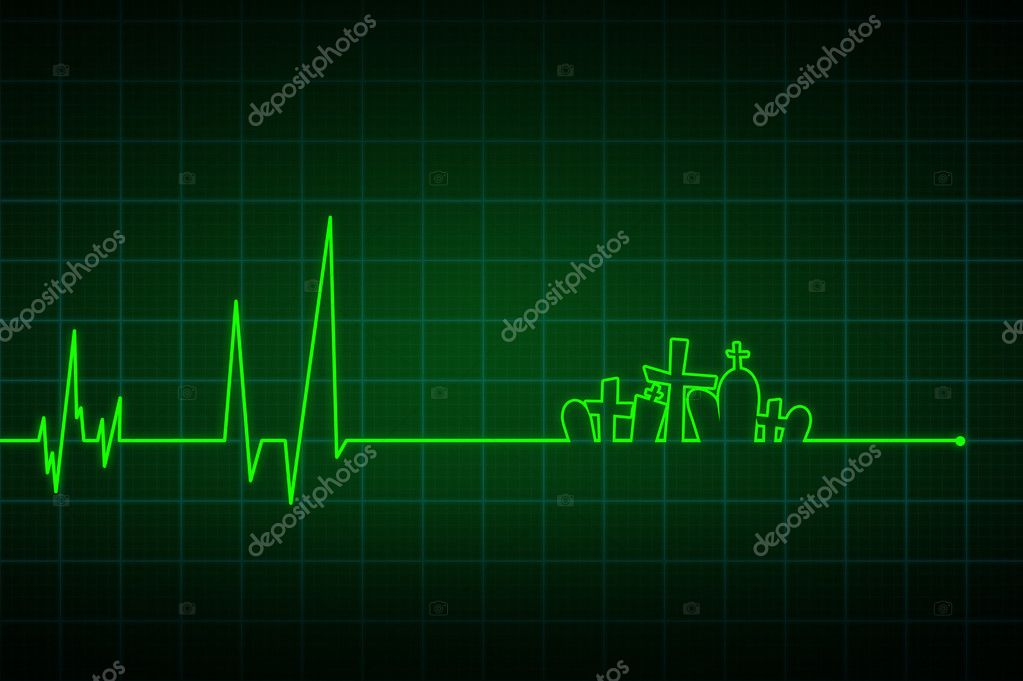 Illustration of a heartbeat ending with crosses — Stock Photo #10641542