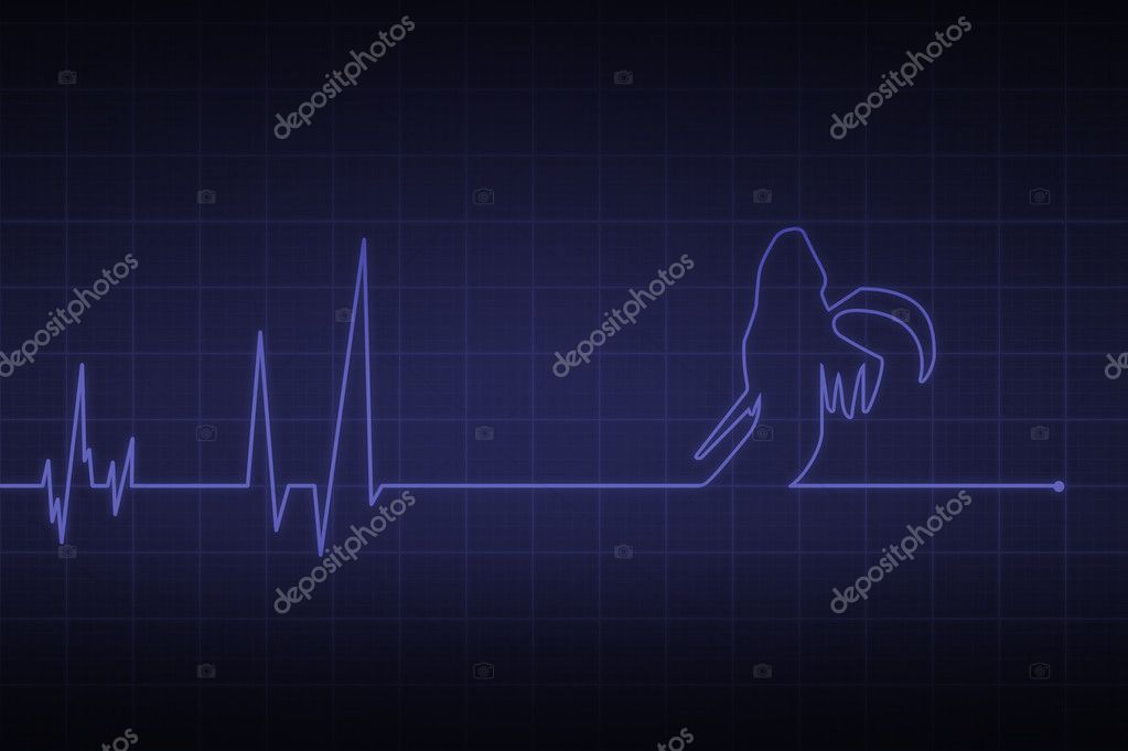 Illustration of a heartbeat ending with  death  — Stock Photo #10641549