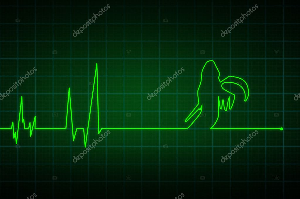 Illustration of a heartbeat ending with  death  — Stock Photo #10641554