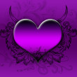 Big purple heart on a purple background — Stock Photo
