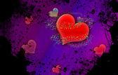 Grunge vintage hearts background — Stock Photo
