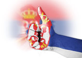 Thumb up with digitally body-painted Serbia flag — Stock Photo