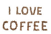Words made of coffee beans — Stock Photo