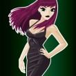 Royalty-Free Stock Vectorafbeeldingen: Girl in a Black Dress