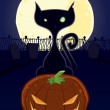 Halloween Black Cat — Stock Vector