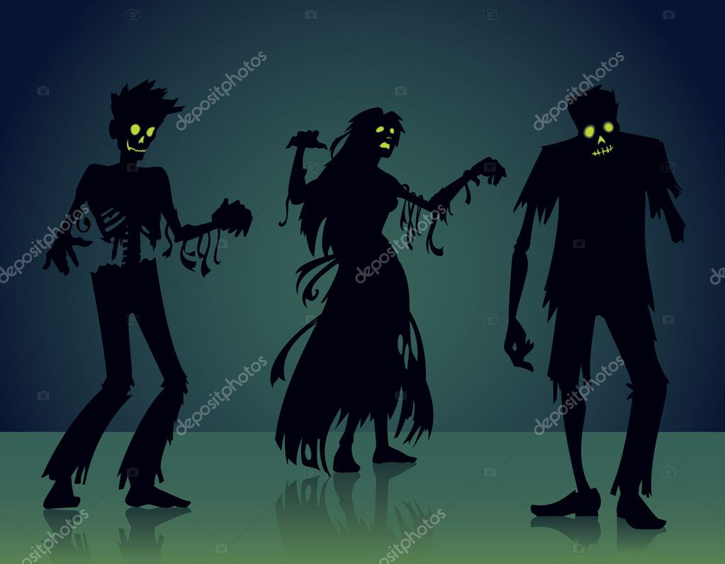 This is a Halloween vector illustration of three zombie silhouettes. — Stock Vector #9209874