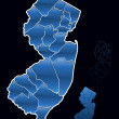 Counties of New Jersey — Stock Vector