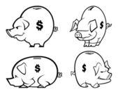 Vector Cartoon Piggy Banks (One Color) — Stock Vector