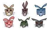 Rabbit Head Icons — Stock Vector