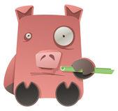 Strange Pig — Stock Vector