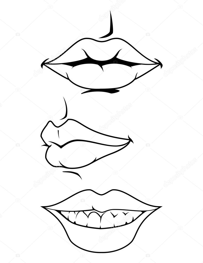 These are three vector illustrations of female lips. — Stock Vector #9210441