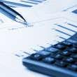 Business chart, calculator and pen — Stock Photo
