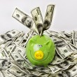 Stock Photo: Money and piggy bank