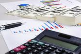 Money, business chart and calculator — Stock Photo