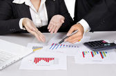 Group discussion on business chart — Stock Photo