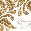 Calligraphy and vintage paisley design card — Vettoriali Stock