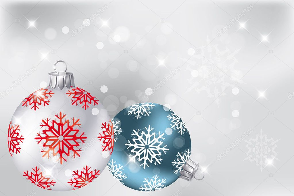 Neutral Christmas background with hand drawn baubles in silver and blue, snowflakes and stars — Stock Vector #9123966
